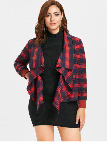 Plus Size Draped Plaid Jacket