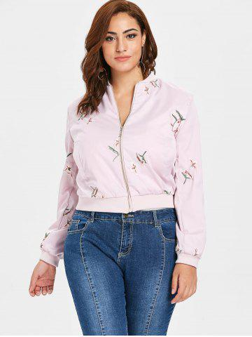 Plus Size Embroidered Bomber Jacket