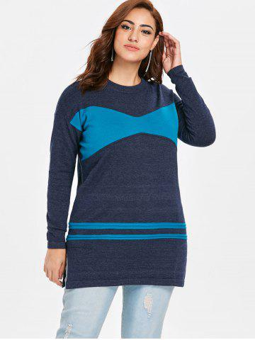 Plus Size Patchwork Tunic Sweater