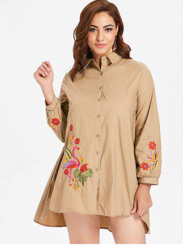 Plus Size Flamingo Embroidery Shirt Dress