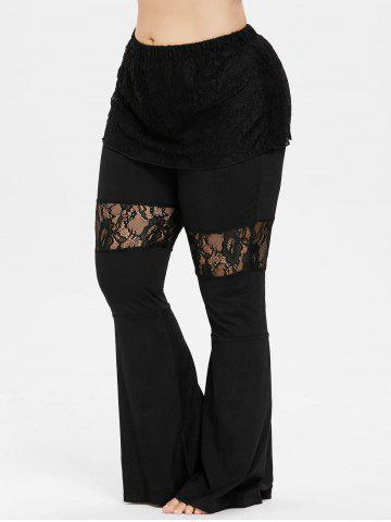 Plus Size Lace Skirted Flare Pants