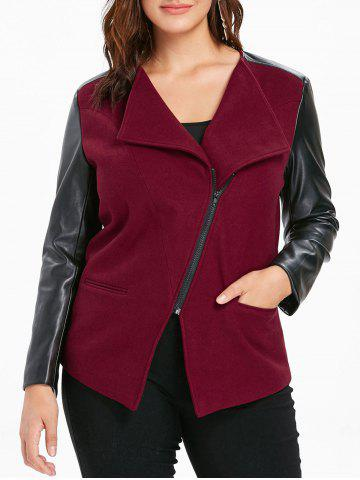 Plus Size PU Color Block Jacket - RED WINE - 1X