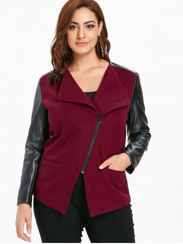 Plus Size PU Color Block Jacket