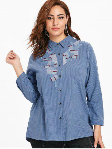 Plus Size Buttoned Striped Blouse