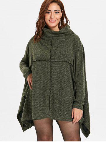 a1fdec3f28b12d Cowl Neck Plus Size Asymmetrical Sweater Dress