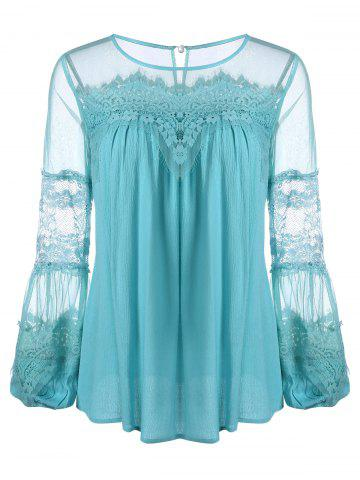 Lace Panel Chiffon Blouse