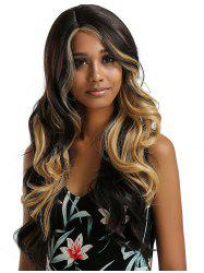 Long Side Parting Ombre Wavy Lace Front Synthetic Wig -