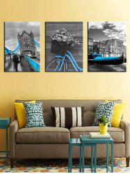 Vintage Building Print Unframed Split Canvas Paintings -