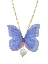 Artificial Pearl Butterfly Pendant Chain Necklace -