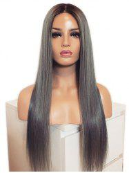 Long Ombre Middle Part Straight Synthetic Wig -