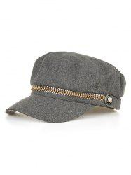 Metal Button Decorative Flat Top Hat -