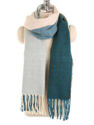 Winter Fringed Color Splice Long Scarf -