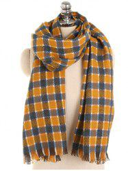 Checked Pattern Decorative Fringed Long Scarf -
