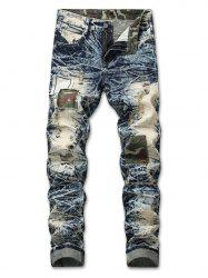Ripped Faded Wash Camo Panel Jeans -