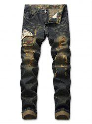Zip Fly Ripped Camouflage Panel Jeans -