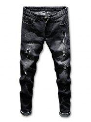 Zip Fly Ripped Faded Wash Jeans -