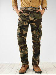 Camouflage Print Multi Pockets Cargo Pants -