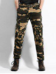 Zip Fly Camo Print Cargo Pants -