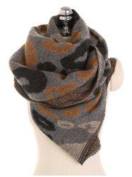 Winter Leopard Pattern Fringed Scarf -