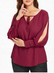 Plus Size Split Sleeve Chiffon Blouse -