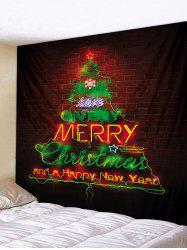 Merry Christmas Tree Brick Wall Printed Tapestry Art Decor -