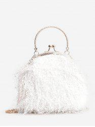 Metal Handle Faux Fur Chain Crossbody Bag -
