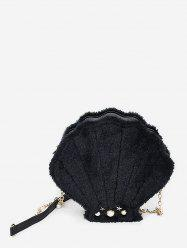 Faux Fur Pearl Shell Shape Crossbody Bag -
