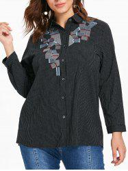Plus Size Buttoned Striped Blouse -