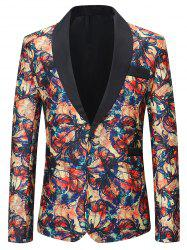 Graffiti Flowers Pattern One Button Lightweight Blazer -