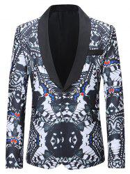 One Button Abstract Printing Pattern Blazer -