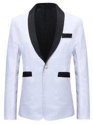 Contract Color One Button Classic Blazer -