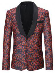 One Button All-over Printed Pattern Blazer -