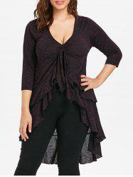 Plus Size Flounced Layered High Low T-shirt -