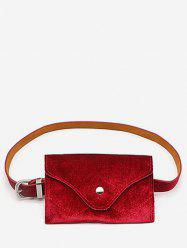 Solid Color Faux Suede Waist Bag -