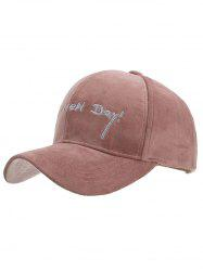 Fun Letter Embroidery Corduroy Baseball Cap -