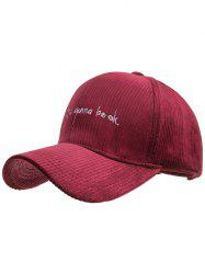 Letter Embroidery Corduroy Snapback Hat -