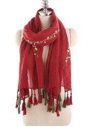 Floral Embroidery Spring Fall Scarf -