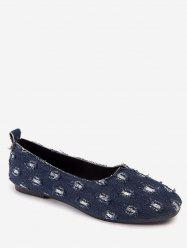 Leisure Ripped Denim Round Toe Flats -
