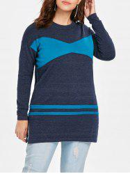 Plus Size Patchwork Tunic Sweater -