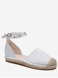 Ankle Wrap Straw Braided Flats -