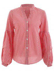 Gingham Print Balloon Sleeve Shirt -
