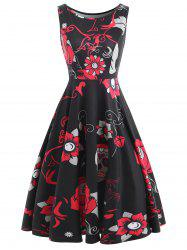 Sugar Skull Print Sleeveless Vintage Dress -