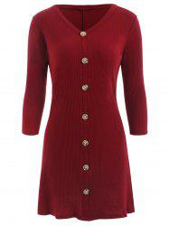 Button Front Ribbed Dress -