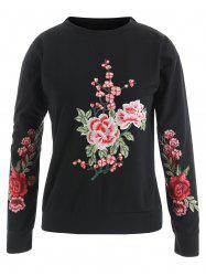 Floral Embroidered Pullover Sweatshirt -