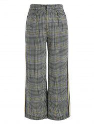 Plaid Print Wide Leg Pants -