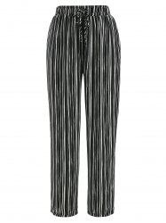 Drawstring Striped Print Pants -