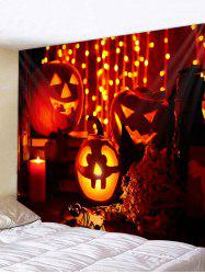 Halloween Pumpkin Candle Printed Wall Tapestry Art Decor -