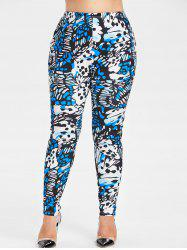 Plus Size Abstract Print Leggings -
