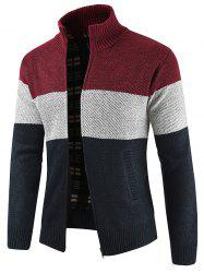 Bold Stripe Zipper Placket Sweater -