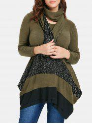 Color Block Plus Size Asymmetrical Sweater with Scarf -